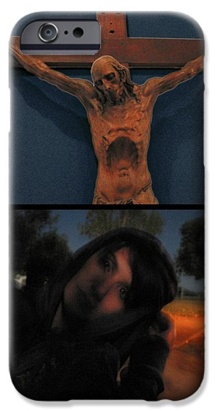 West Digital Art iPhone Cases - Crucifixion iPhone Case by James W Johnson