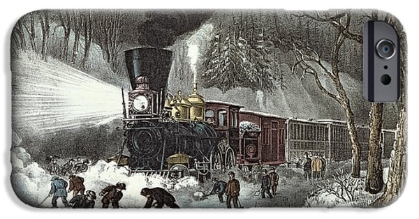 Fog iPhone Cases - Currier and Ives iPhone Case by American Railroad Scene