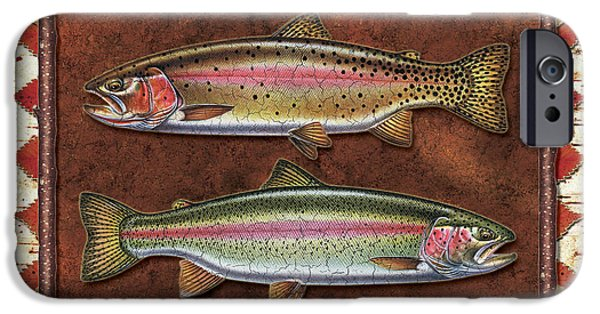 Cabin iPhone Cases - Cutthroat and Rainbow Trout Lodge iPhone Case by JQ Licensing