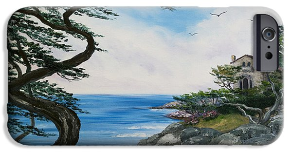 Cypress Trees iPhone Cases - Cypress Tree at Carmel iPhone Case by Laura Iverson