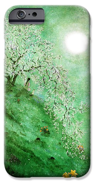 Buddhist iPhone Cases - Daffodil Dream Meditation iPhone Case by Laura Iverson