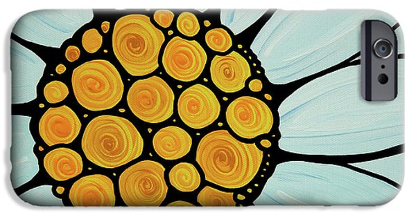 White Daisies iPhone Cases - Daisy iPhone Case by Sharon Cummings