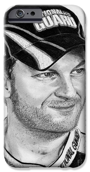 Celebrities Art iPhone Cases - Dale Earnhardt Jr in 2009 iPhone Case by J McCombie