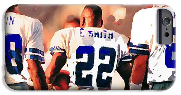 Cities Mixed Media iPhone Cases - Dallas Cowboys Triplets iPhone Case by Paul Van Scott