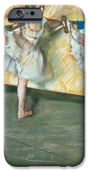 Ballet Dancers iPhone Cases - Dancers at the bar iPhone Case by Edgar Degas