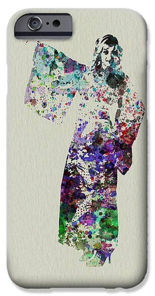 Dancing Girl Paintings iPhone Cases - Dancing in Kimono iPhone Case by Naxart Studio