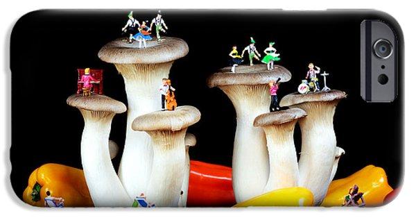 Mushroom Digital Art iPhone Cases - Dancing show on mushroom iPhone Case by Paul Ge