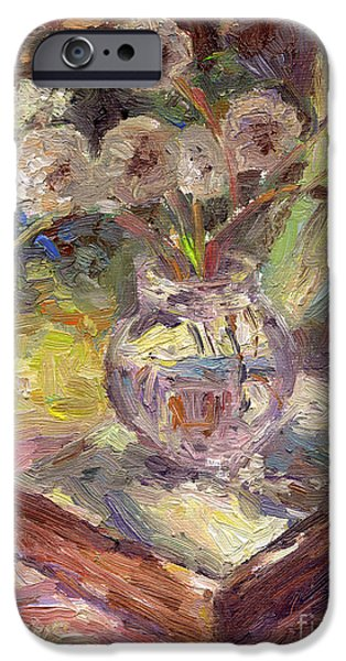 Beautiful Drawings iPhone Cases - Dandelions flowers in a vase sunny still life painting iPhone Case by Svetlana Novikova