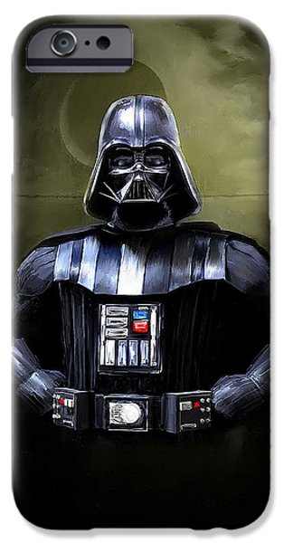 Movie Star iPhone Cases - Darth Vader Star Wars  iPhone Case by Michael Greenaway