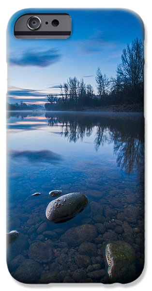 Blue iPhone Cases - Dawn at river iPhone Case by Davorin Mance