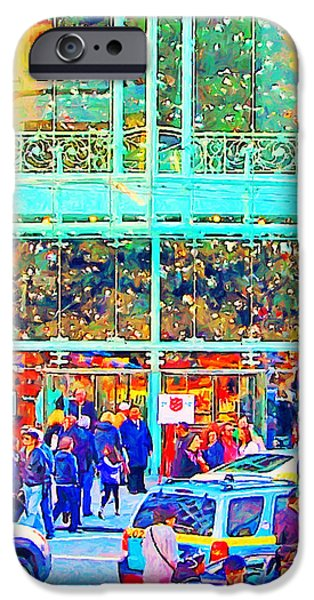Stockton iPhone Cases - Day Before Christmas at Neiman Marcus . Photoart iPhone Case by Wingsdomain Art and Photography