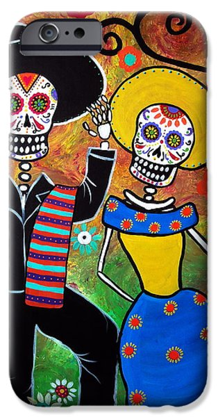 Carter House iPhone Cases - Day Of The Dead Bailar iPhone Case by Pristine Cartera Turkus