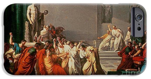 Roman Emperor iPhone Cases - Death of Julius Caesar iPhone Case by Vincenzo Camuccini