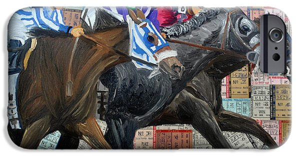 Horse Racing Mixed Media iPhone Cases - Derby Tickets III iPhone Case by Michael Lee