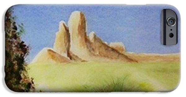Mounds Paintings iPhone Cases - Desert Butte iPhone Case by Jamie Frier