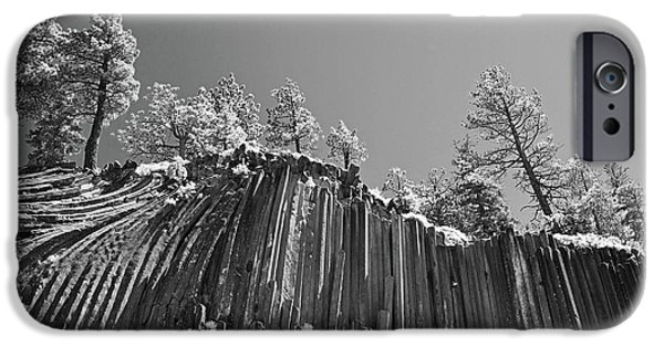 Infrared iPhone Cases - Devils Postpile - Frozen columns of lava iPhone Case by Christine Till