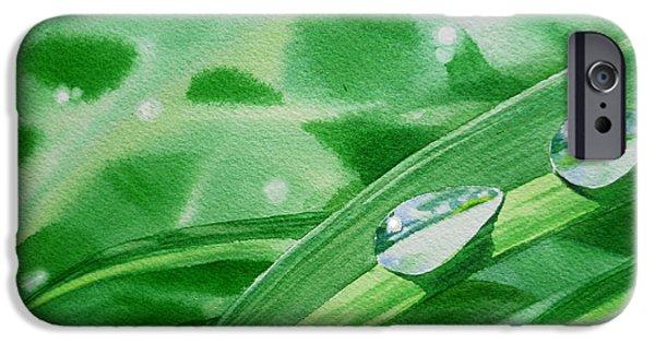Affirmation iPhone Cases - Dew Drops iPhone Case by Irina Sztukowski