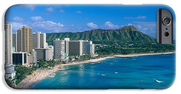 Printscapes - iPhone Cases - Diamond Head And Waikiki iPhone Case by William Waterfall - Printscapes