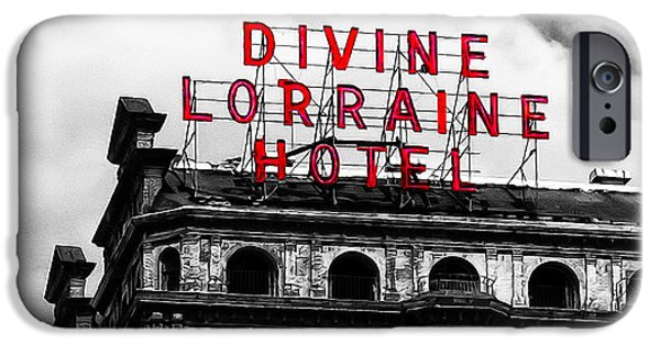 Phillies Digital iPhone Cases - Divine Lorraine Hotel Marquee iPhone Case by Bill Cannon