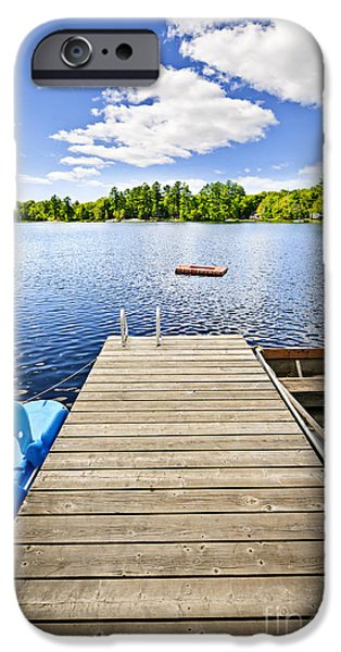Wooden Platform iPhone Cases - Dock on lake in summer cottage country iPhone Case by Elena Elisseeva