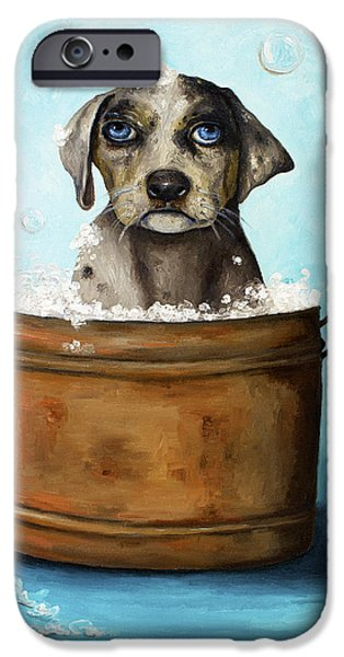 Bathing iPhone Cases - Dog N Suds iPhone Case by Leah Saulnier The Painting Maniac