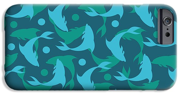 Dissing iPhone 6 Case - Dolphins In Blue  by Mark Ashkenazi