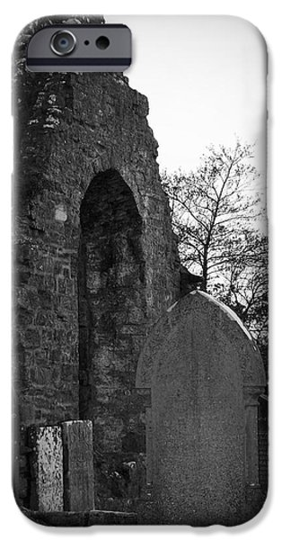 Headstones iPhone Cases - Donegal Abbey Ruins Donegal Ireland iPhone Case by Teresa Mucha