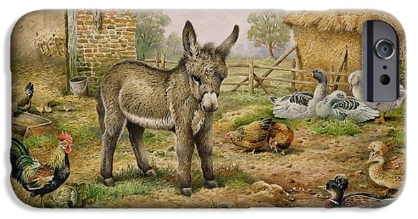 Geese iPhone Cases - Donkey and Farmyard Fowl  iPhone Case by Carl Donner