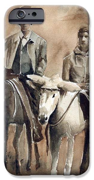 Monotone Paintings iPhone Cases - Donkey Ride iPhone Case by Arline Wagner