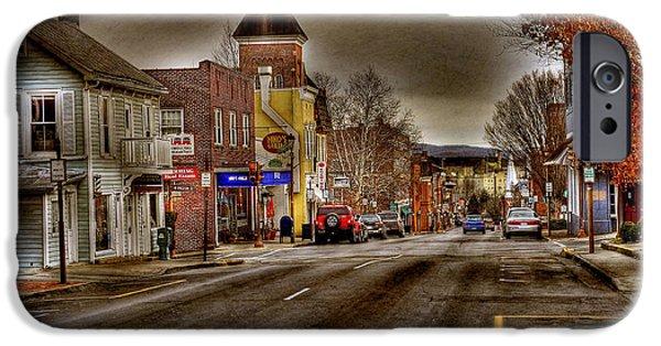 City Scape iPhone Cases - Down Town Lexington VA iPhone Case by Todd Hostetter