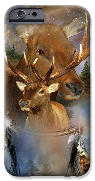 Native American Art iPhone Cases - Dream Catcher - Spirit Of The Elk iPhone Case by Carol Cavalaris