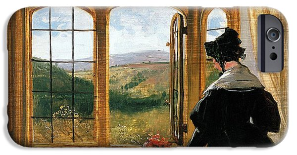 Duchess iPhone Cases - Duchess of Abercorn looking out of a window iPhone Case by Sir Edwin Landseer