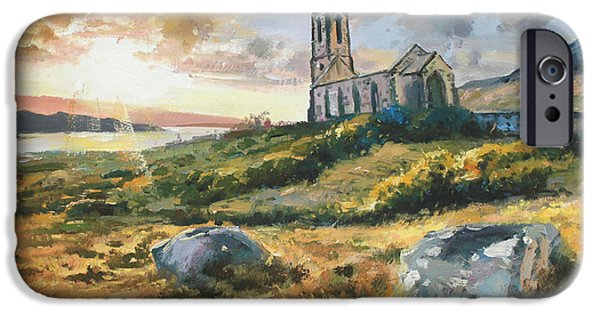 Sun Rays Paintings iPhone Cases - Dunlewy Church iPhone Case by Conor McGuire