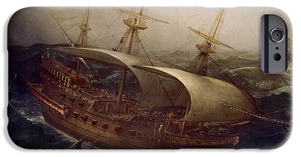 Shipping iPhone Cases - Dutch Battleship in a Storm iPhone Case by Hendrick Cornelisz Vroom