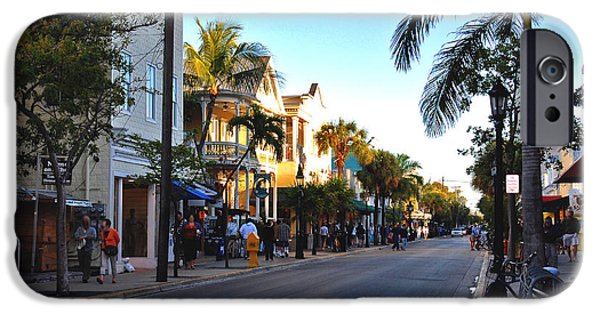 Florida House Photographs iPhone Cases - Duval Street in Key West iPhone Case by Susanne Van Hulst