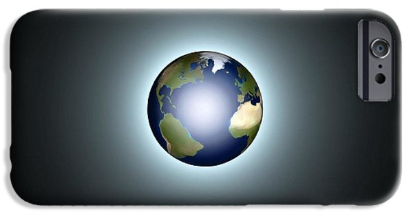 Luminescent iPhone Cases - Earth iPhone Case by Pet Serrano