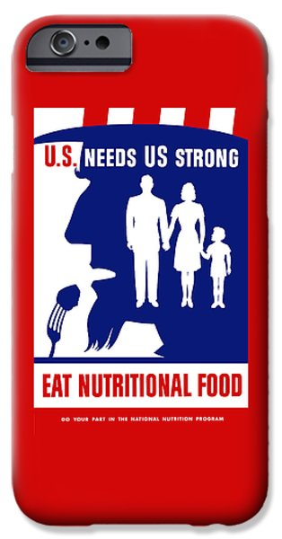 Healthy Mixed Media iPhone Cases - Uncle Sam - Eat Nutritional Food iPhone Case by War Is Hell Store