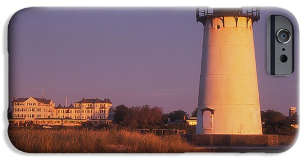 Martha iPhone Cases - Edgartown Lighthouse and Mansion iPhone Case by John Burk