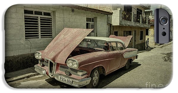 Old Cars iPhone Cases - Edsel texture  iPhone Case by Rob Hawkins