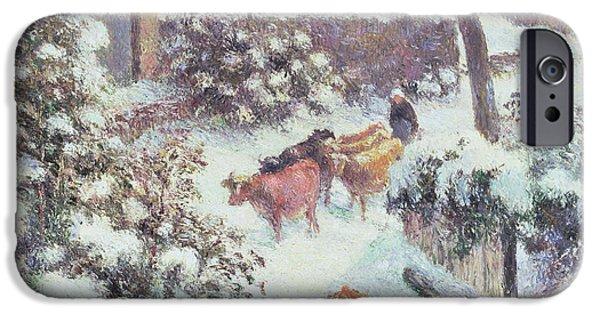 Camille Pissarro iPhone Cases - Effect of Snow at Montfoucault iPhone Case by Camille Pissarro