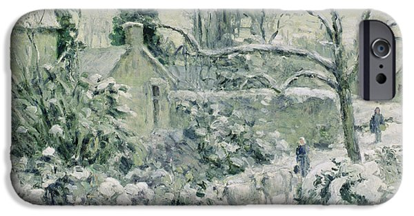 Effect iPhone Cases - Effect of Snow with Cows at Montfoucault iPhone Case by Camille Pissarro