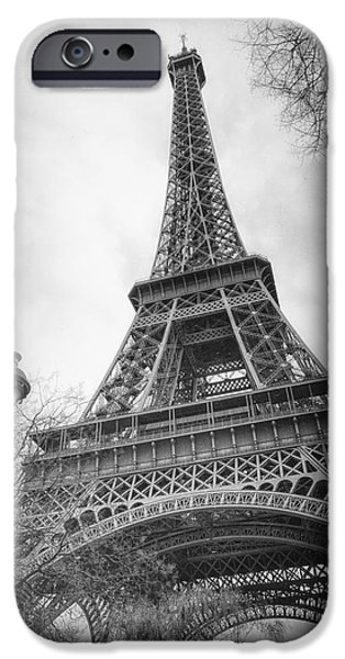 Ironwork iPhone 6 Case - Eiffel Tower And Lamp Post Bw by Joan Carroll
