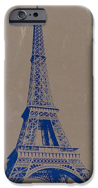 Paris iPhone Cases - Eiffel Tower Blue iPhone Case by Naxart Studio