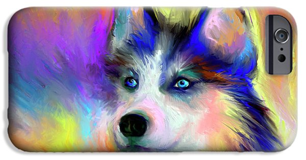 Huskies Digital Art iPhone Cases - Electric Siberian Husky dog painting iPhone Case by Svetlana Novikova