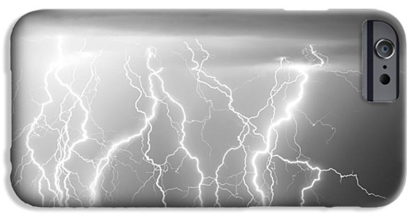Lightning Bolts iPhone Cases - Electric Skies in Black and White iPhone Case by James BO  Insogna
