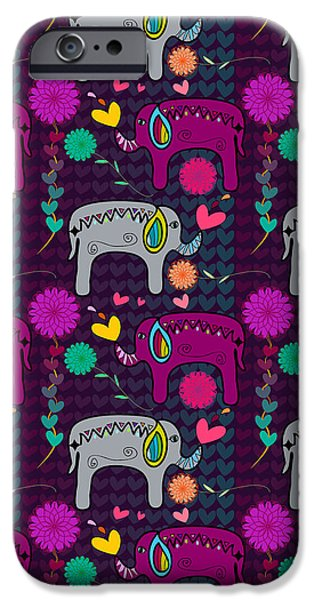 Pinks And Purple Petals Digital iPhone Cases - Elephants and Flowers and Hearts in Purple and Gray Color iPhone Case by Jelena Ciric