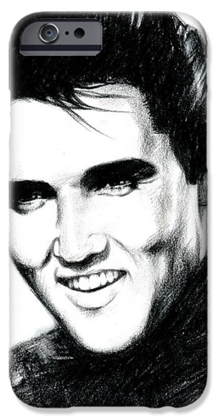 Black Portrait Drawings iPhone Cases - Elvis iPhone Case by Lin Petershagen