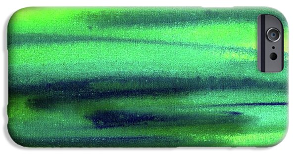 Emerald Flow Abstract Painting IPhone 6 Case by Irina Sztukowski