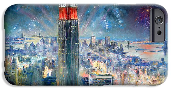 July Paintings iPhone Cases - Empire State Building in 4th of July iPhone Case by Ylli Haruni