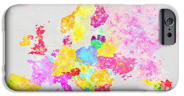 Colorful Abstract Pastels iPhone Cases - Europe map iPhone Case by Setsiri Silapasuwanchai